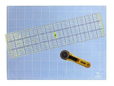 A2 - 60 x 45 cm Schneideunterlage (cm & inch) + Rollschneider + 60x15 cm Lineal