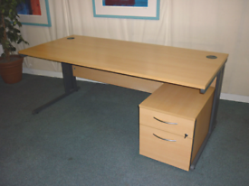 Cantilever Beecham Rectangular Desk and Pedestal - Free Delivery
