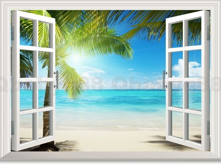Large sunshine beach tree 3d window view removable wall for Beach wall mural decals