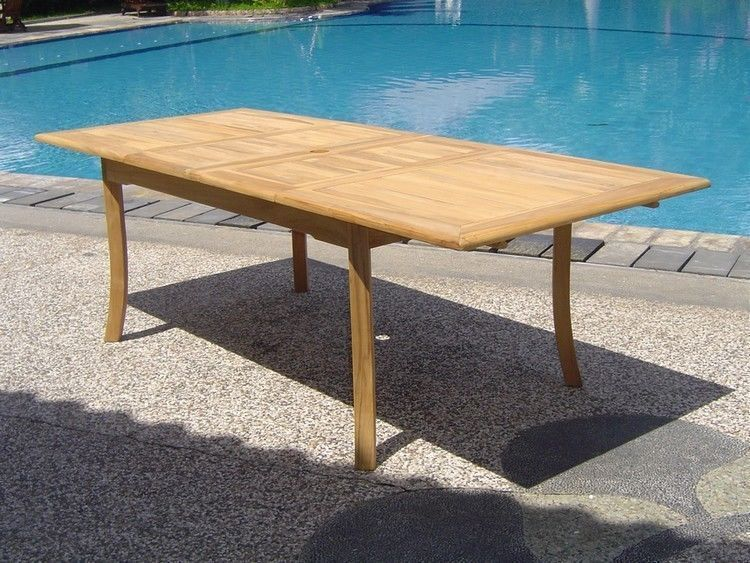"""11-piece Outdoor Teak Dining Set: 94"""" Rectangle Table, 10 Armless Chairs Lagos"""