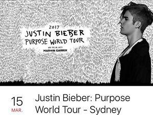 Justin Bieber Tickets x 2 B Reserve Grandstand, Sydney Belconnen Belconnen Area Preview