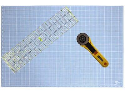A1 - 90 x 60 cm Schneidematte (cm & inch) + Rollschneider + 60x15 cm Lineal