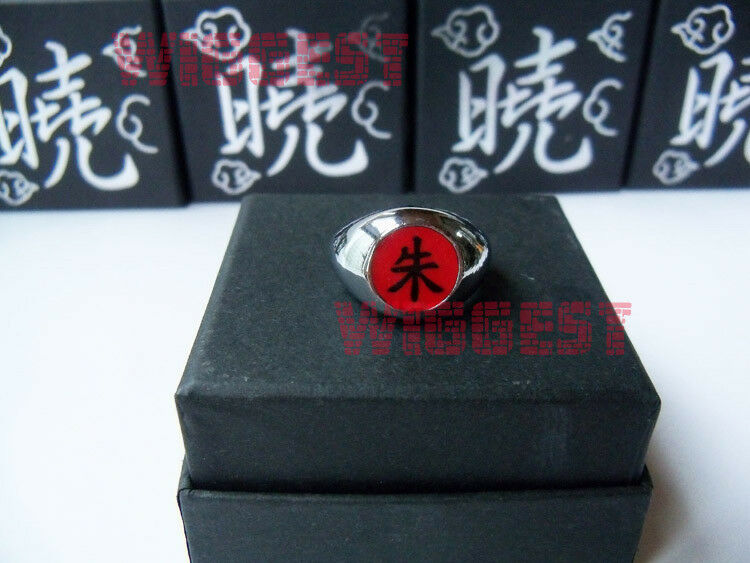 "Naruto Uchiha Itachi Cosplay Ring Akatsuki Red ""Shu"" Box Packed"
