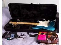 *BRAND NEW* MEXICAN FENDER STRAT LAKE PLACID BLUE plus HYBRID HARD CASE plus MORE!!!