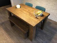 Rustic dark oak hand built dining table set