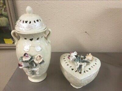Vintage Porcelain Jewelry Trinket Heart Shaped Box & Vase Applied Flowers Roses