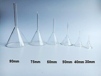Laboratory Funnel Short Stem Thick Clear Glass Multiple Siz 304050607590mm