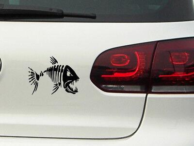 Fisch Skelett Auto Aufkleber Angler Fisch Sticker Fischen Piranha Camping JDM