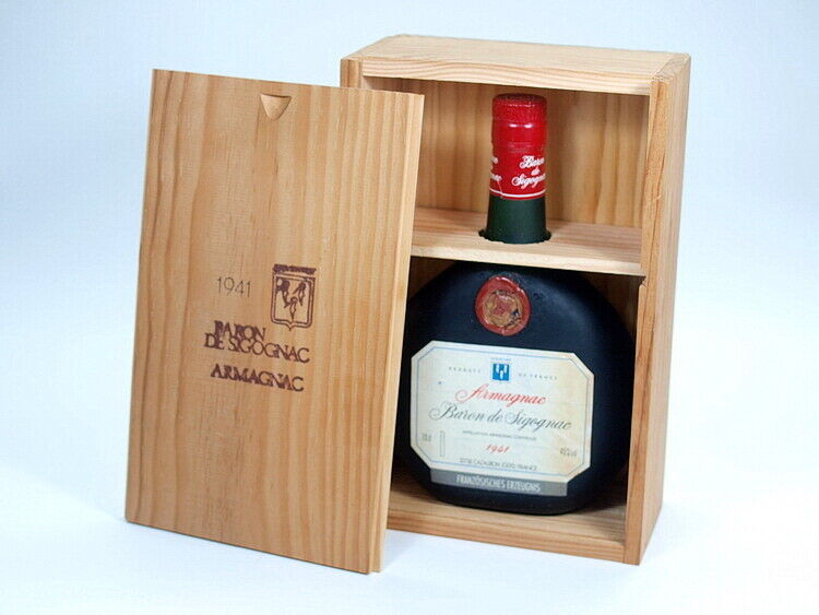 RARITÄT! original ARMAGNAC BARON DE SIGOGNAC 1941 mit Holzkiste Cognac 0,7L