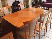 Dining Table and 8 chairs with extendable table