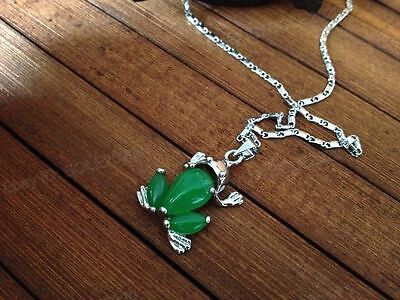 Beautiful Green Jade Carved Frog Inlay Lucky Jade Pendant + Link Chain Necklace