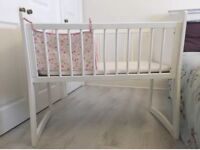 Rocking Crib in white, 2 in One,new baby classic nursery bed, comes with mattress