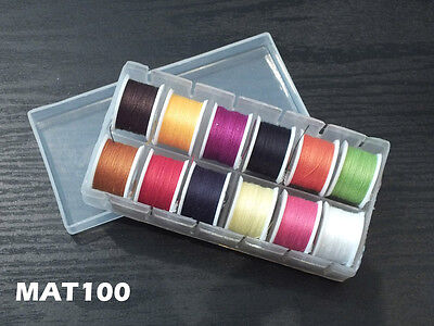 Fly Tying Thread - 12 Small Spools -Assorted Colors in Dispenser Box - MAT100 Assorted Thread 12 Spools