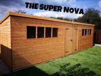 Large Pent Shed/Workshop 22'x10' Wooden Heavy Duty Timber Tongue and Groove Double DoorsFREE Fitting