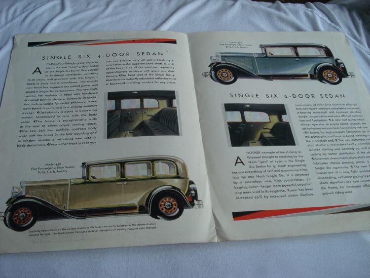 1930 NASH AUTOMOBILE  COLOR CATALOG ADVERISEMENT