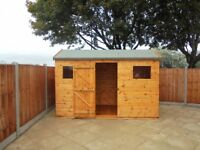 14x8FT PENT SLOPING ROOF HEAVY DUTY STORAGE GARDEN SHED T&G FULLY ASSEMBLED ERECTED