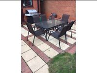 Garden table and 6 chairs with small table and 2xfoot stools