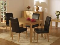 BRAND NEW - BELGRAVIA SOLID OAK DINING TABLE SET WITH 4 LEATHER CHAIRS