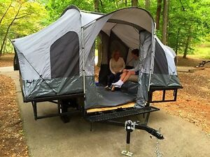 ATV Utility Trailer with Camping Tent UTV Motorcycle Quad Toy Hauler Dirt Bike
