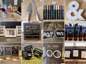 Wedding Decor (table number, photo props/frames, giant Jenga)