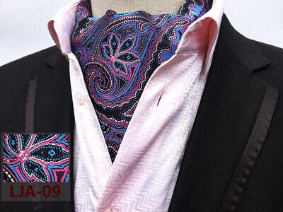 Weiße Ascot (Lila Blau Weiß Seidenmischung Krawatte Ascot Krawatte und Einstecktuch Satz)