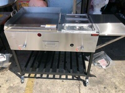 Taco Cart With Shelf Stand And Bottom Shelf 20 X 24 Gas Propane Grill