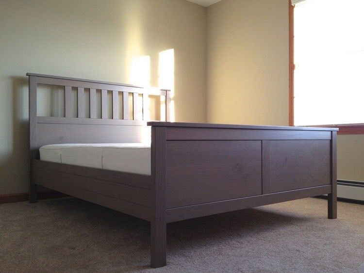 Ikea Hemnes King Size Bed Frame Grey Wash Colour With Wooden