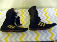 A PAIR OF ADDIDAS FULL LENGTH LACE UP BOXING BOOTS