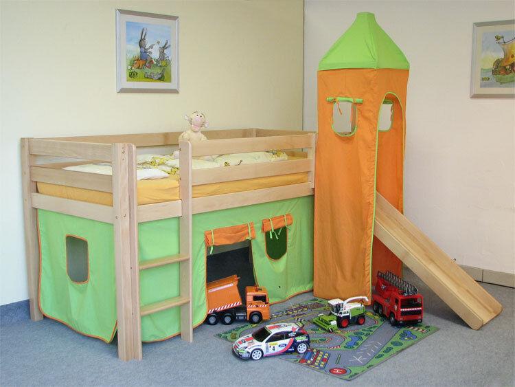 hochbett spielbett abenteuerbett kinderbett mit rutsche buche bio in niedersachsen despetal. Black Bedroom Furniture Sets. Home Design Ideas