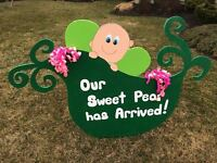 Beautiful Handmade Unisex Baby Announcement Sign