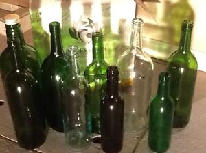WINE BOTTLES &  MORE:    12 clean bottles with labels removed, (