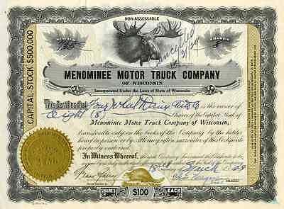 1929 Menominee Motor Truck Stock Certificate
