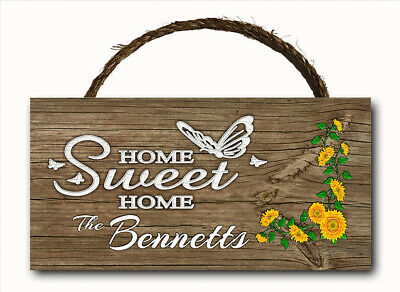 Personalized Custom Name Home Sweet Hanging Wood Plaque Door Wall Sign 12x6 ()