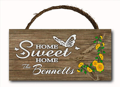 Personalized Custom Name Home Sweet Hanging Wood Plaque Door Wall Sign 12x6