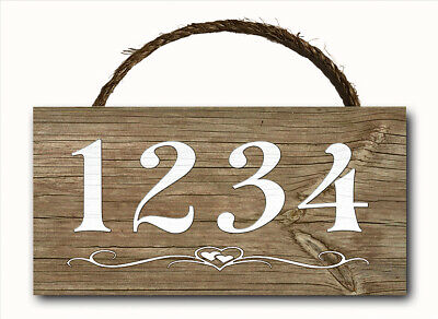 Personalized Custom House Address Numbers Hanging Wood Plaque Wall Sign 12x6 ()