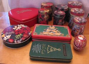 15 storage tins plus 7 small gift boxes for Christmas cookies
