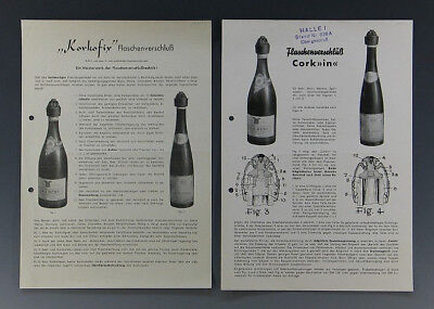 2 x Werbeblatt KORKOFIX FLASCHENVERSCHLUß um 1950