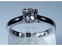 """IGI Certified """"LEO Diamond"""" Platinum 0.35ct Diamond Solitaire Engagement Ring rrp £4,000"""