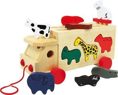 Zoowagen mit Tieren Legler Steckspiel Zoowagen Nachzieh Auto Holzspielzeug NEU!