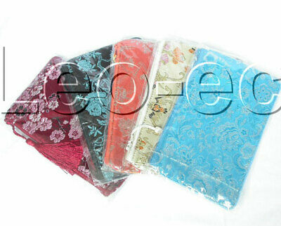 Wholesale 5pcs Mixed Colors Jewelry Silk Bags Handbag Zipper Pouches T117a08