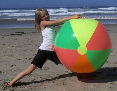 """48"""" 4 Color BRIGHT NEON Inflatable Beach Ball - Fun & Colorful Blowup Pool Toy for sale  Shipping to Canada"""