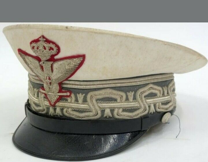 WW2 ITALIAN FASCIST GENERALS PEAKED CAP, SUMMER TYPE WITH WHITE TOP AND GREEN/GR