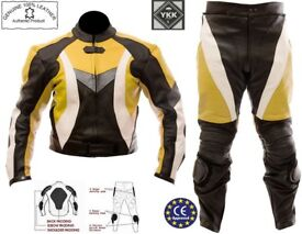 Motorcycle Leather Jacket & Trousers Suit. Unisex, Male/Female [Black-Yellow-White]