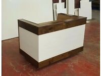 RECEPTION DESK IN WALNUT AND WHITE ASH , SOLID WOOD AND LAMINATED PANELS