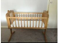 Lovely wooden mothercare rocking crib and mattress