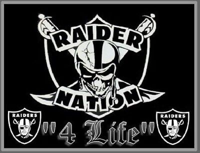 2  Oakland Raiders Nation 4 Life Vinyl Window Stickers 5 X 3 8 Car Bumper Decal