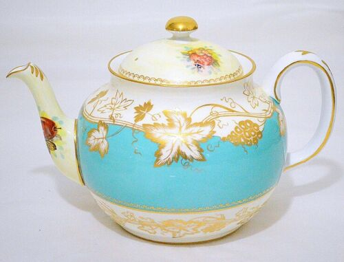 Royal Chelsea England Gold Vine Fruits Turquoise Band Teapot