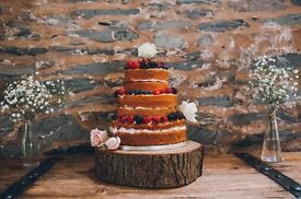 Large wood slice cake stand