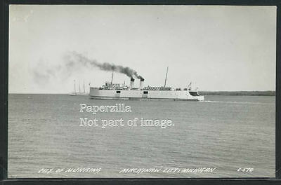 Sharp MI Mackinaw City RPPC 40's FERRY BOAT CITY of MUNISING Cook C-570 Nearmint