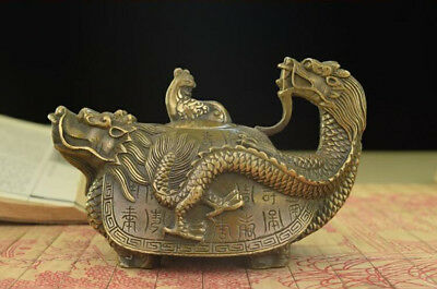 Collection Decoration Exquisite Old Chinese COPPER HANDWORK DRAGON TEA POT